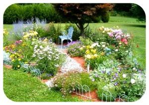 красивая лужайка в саду